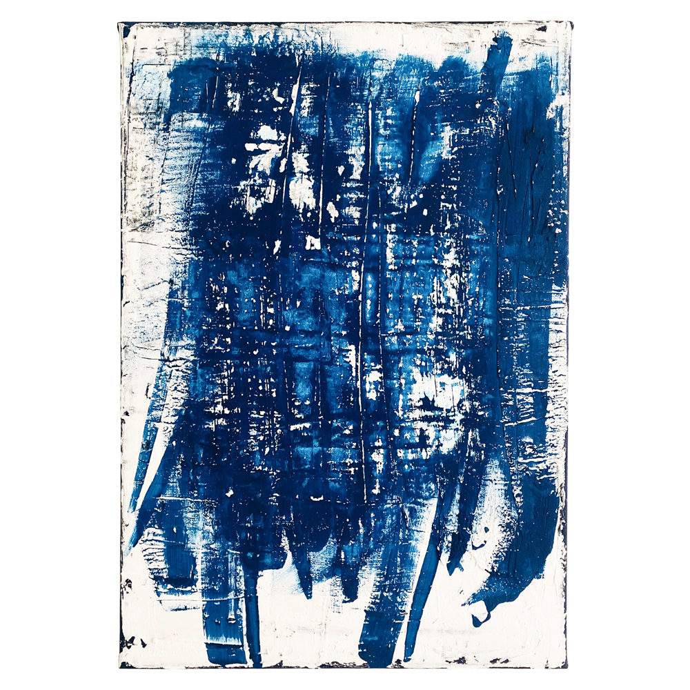 Painting with acrylic paint and plaster on canvas in blue and white by the artist Lerke Nennemann from 2020